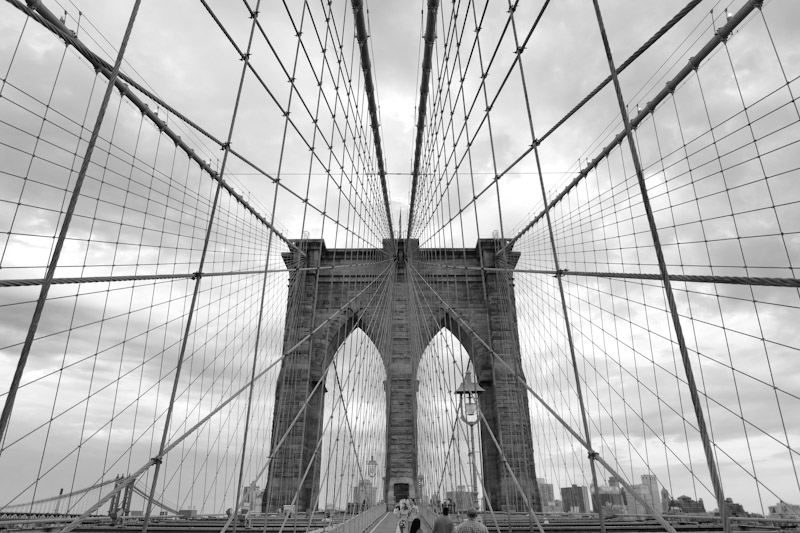 Brooklyn Bridge steel cables wires black and white New York City