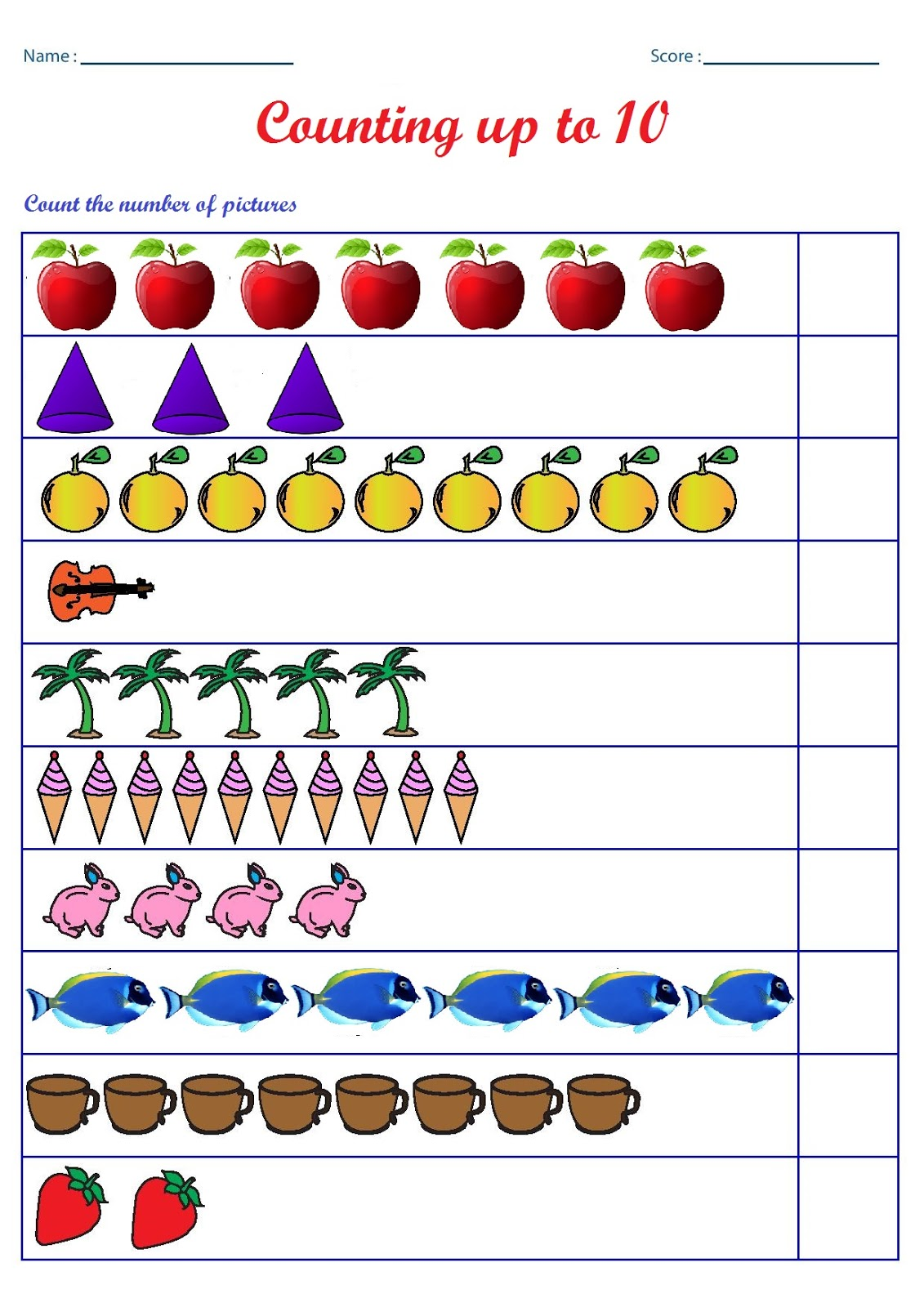 kindergarten worksheets counting worksheets count the number of pictures up to 10. Black Bedroom Furniture Sets. Home Design Ideas
