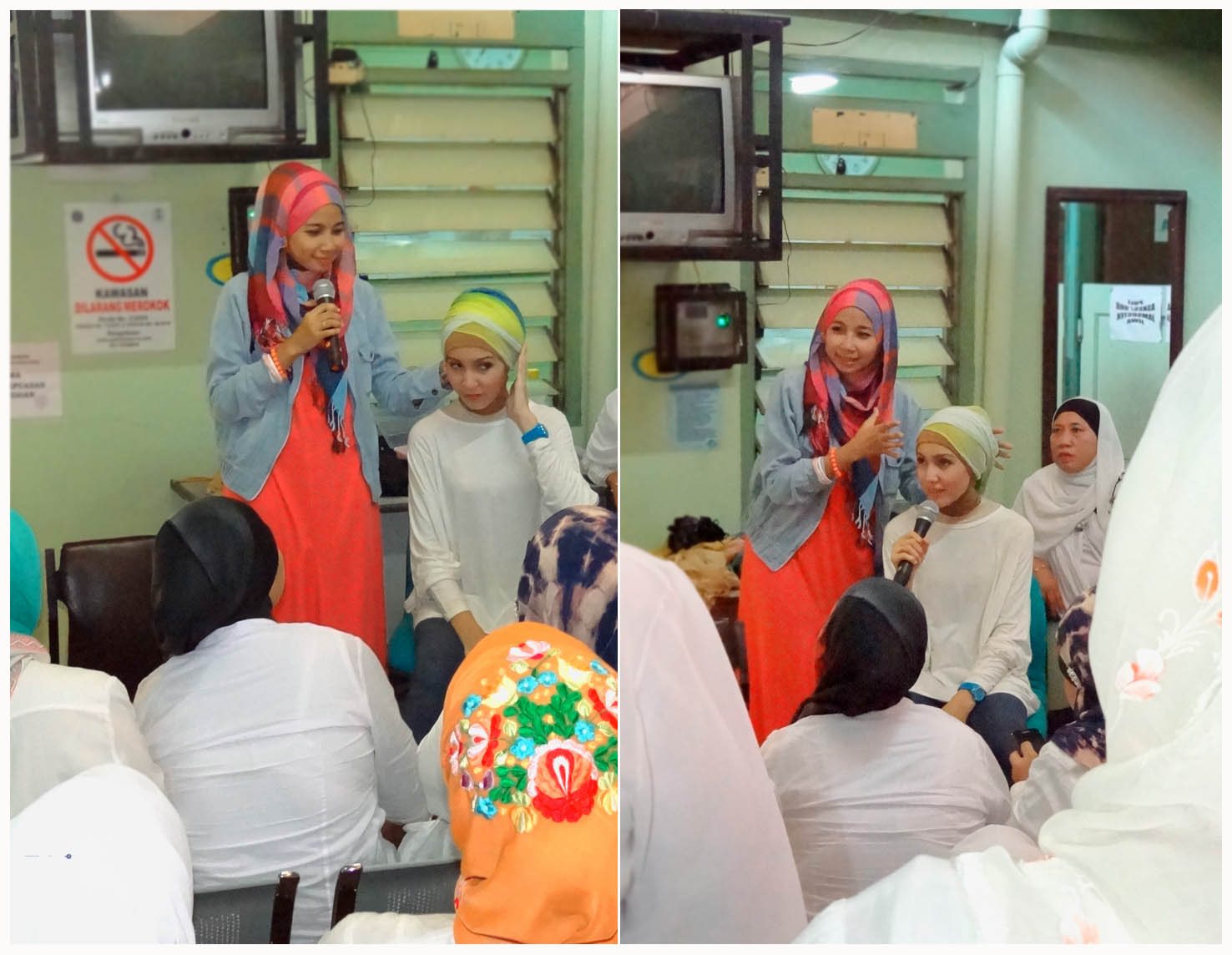 Peserta dari Puskesmas Jaksel sangat antusias mengikuti demo hijab