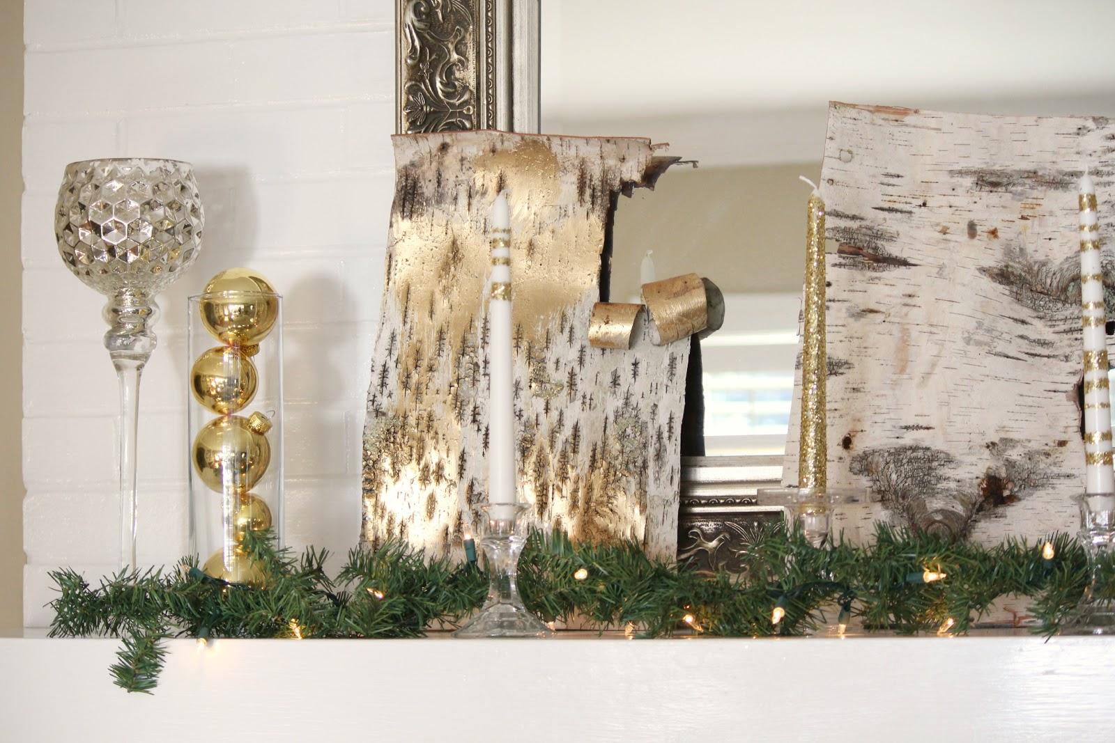 Ten june rustic glam christmas mantel a mantel link party for Accessoires de decoration