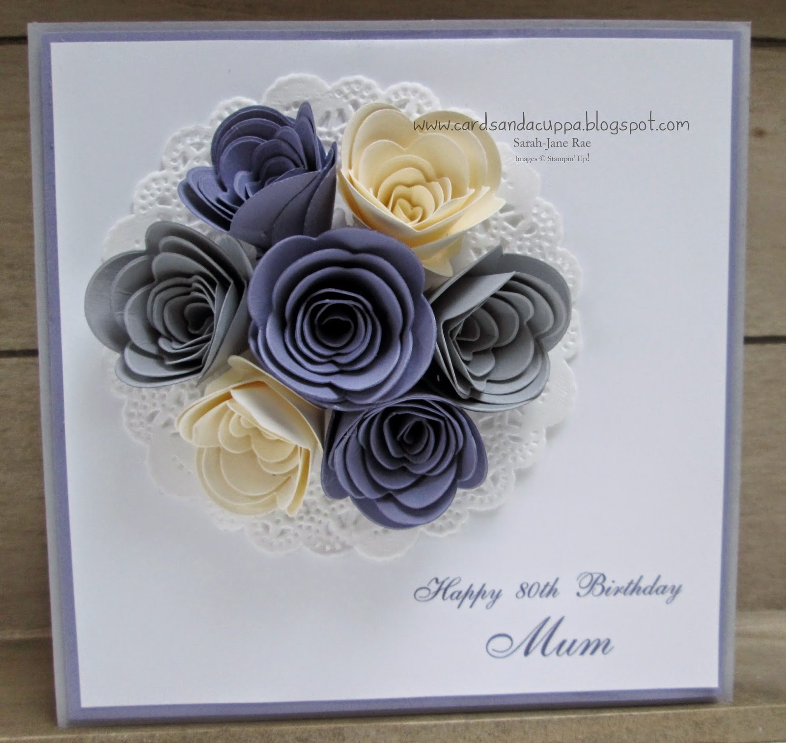 Sarah jane rae cardsandacuppa stampin up uk order online 247 i added vanilla wisteria wonder and smoky slate rolled flowers to a doily izmirmasajfo