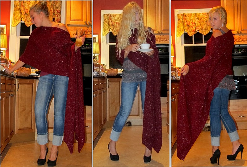 how to turn a scarf into a poncho