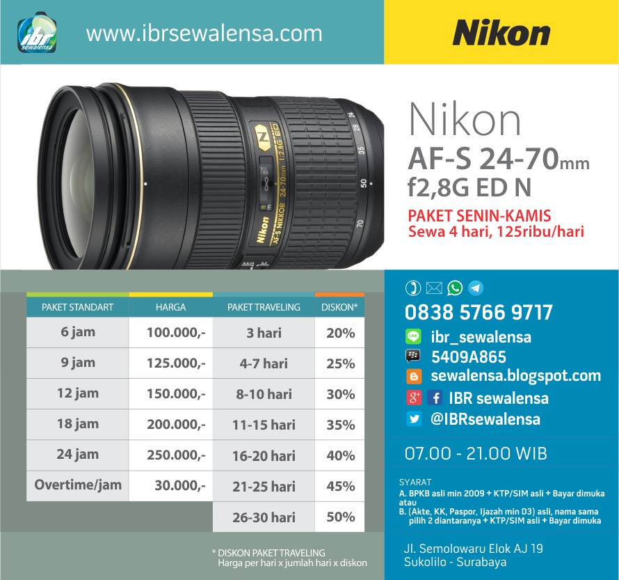 Sewa Rental lensa Nikon AF-S 24-70mm f2,8G ED N