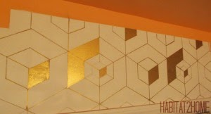 Tumbling Block within Block Pattern in Gold Sharpie