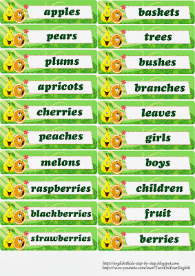 words for the fruit flashcards in plural