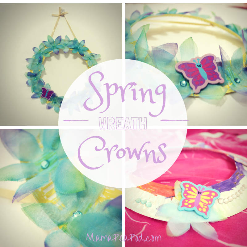 spring wreaths or crowns made by kids from paper plates and flowers