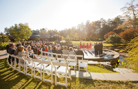 carrie and daniels sun kissed wedding at the sarah p duke gardens at duke university is featured today in style me pretty