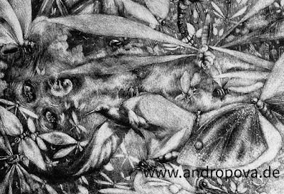 """""""Kosmogonie"""" - Ausschnitte einer Schablithografie ᛝ www.andropova.de ᛝ"""
