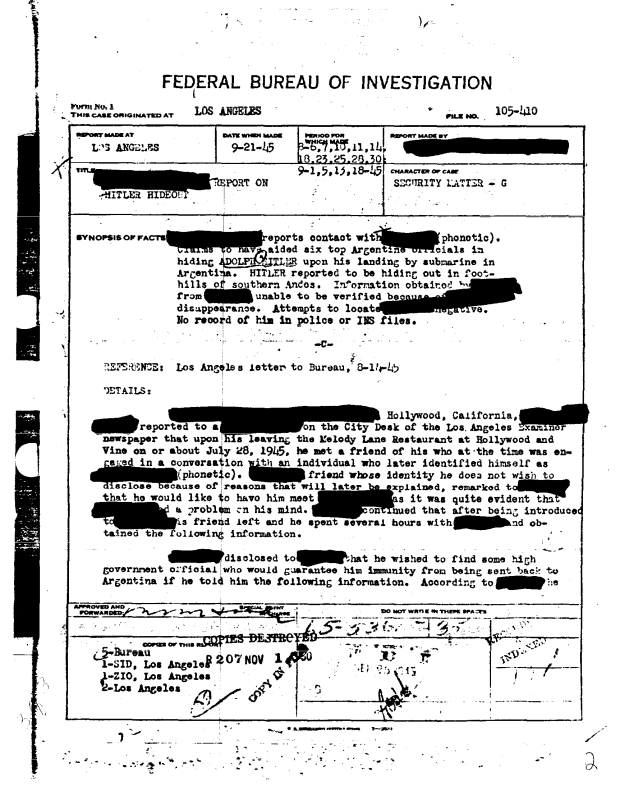 FBI Opens Files Proving Adolf Hitler Went To Argentina