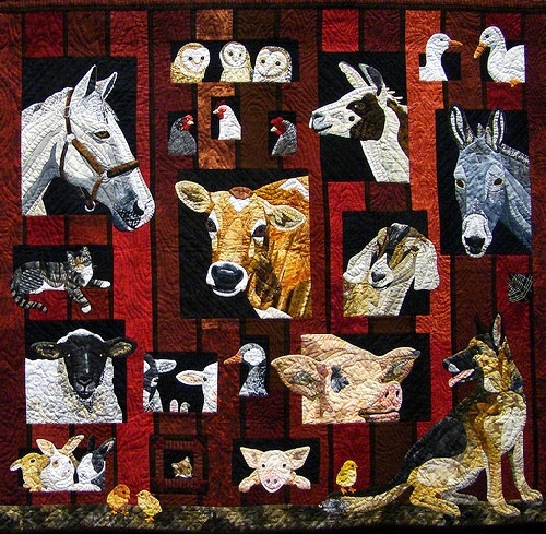 cute animal quilt art by Nancy Brown