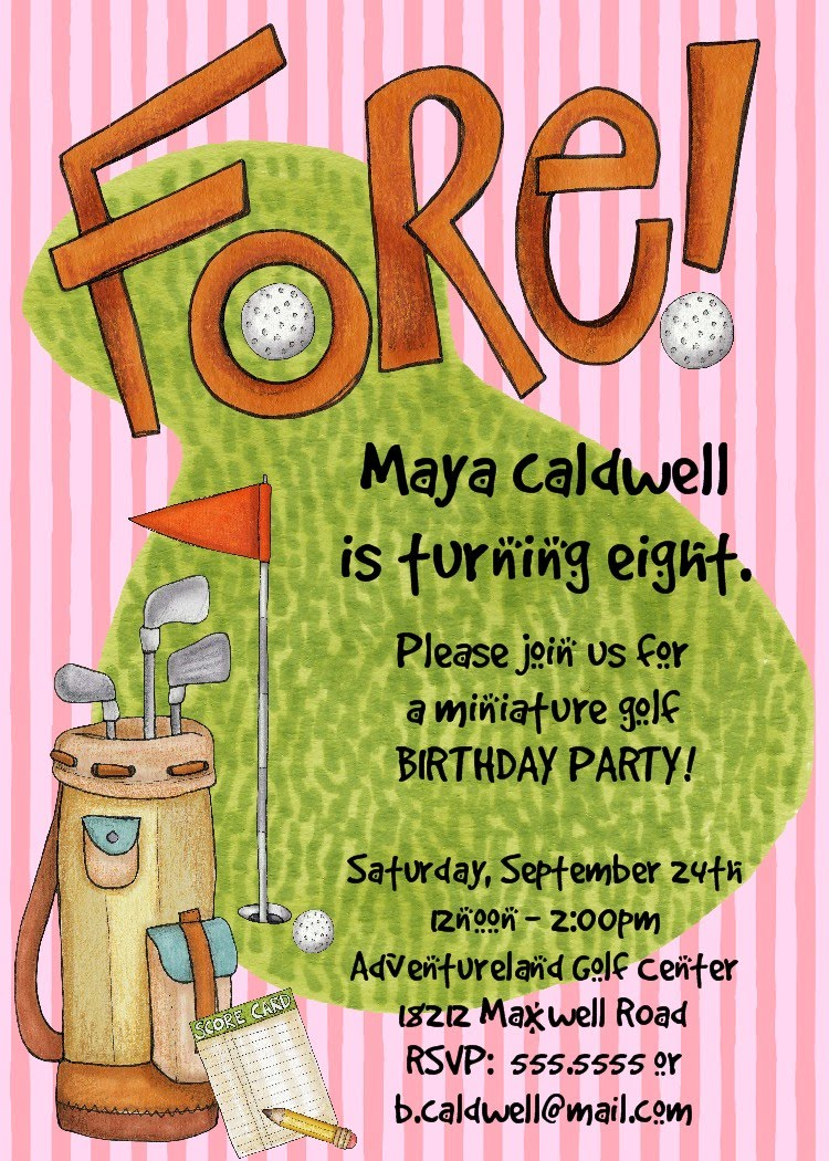 Bear River Photo Greetings Golf Birthday Party Invitation – Mini Golf Birthday Party Invitations