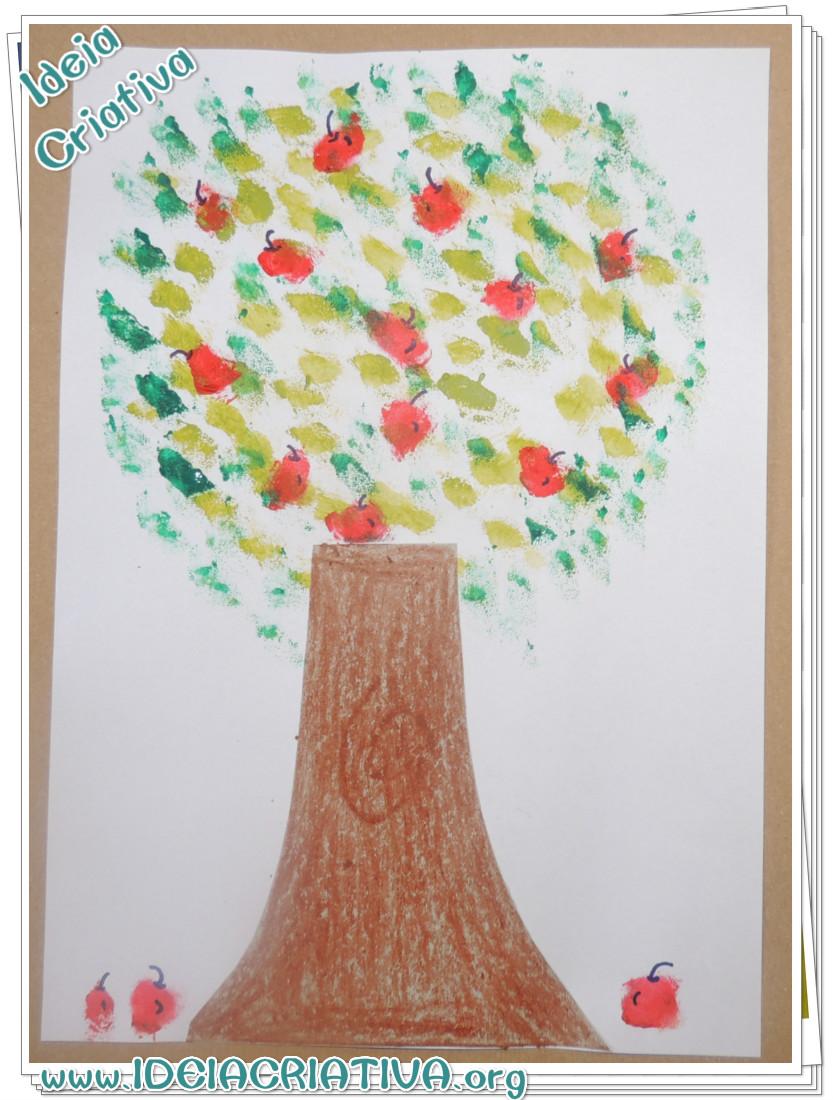 Atividade Dia da Árvore Pintura com Esponja