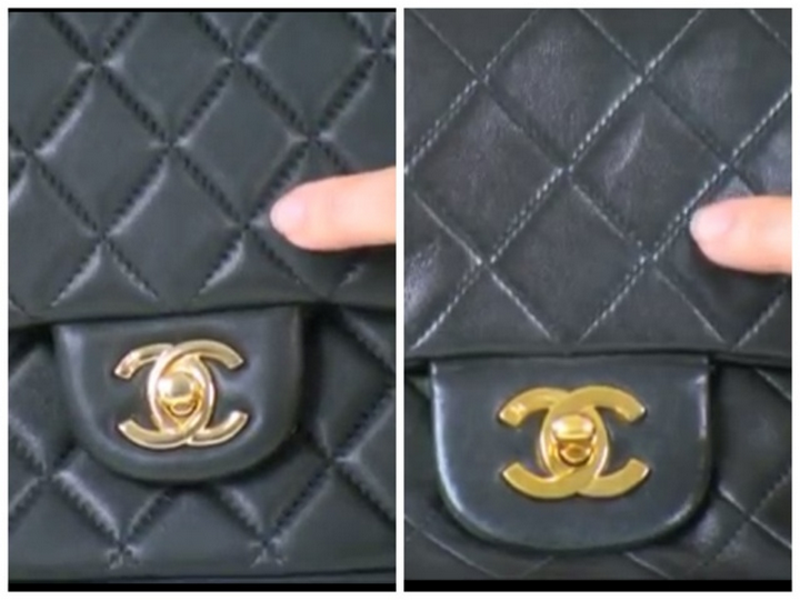 e9102dd6feba The photo of the left shows a fake Chanel and the right photo shows an authentic  Chanel. A low stitch count causes the quilted effect to be puffy whereas ...
