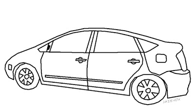 black and white illustration drawing image of a car vehicle automobile