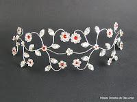 Tiara, corona, coronita de plata y strass para novias o 15 años