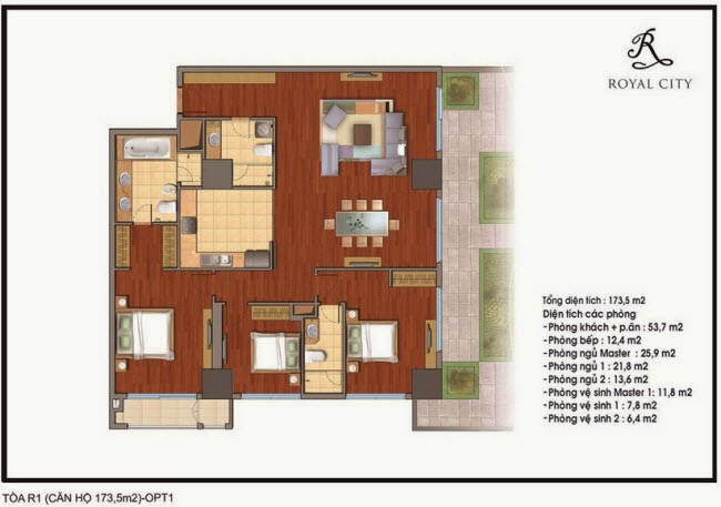 Chi tiết thiết kế căn hộ toà R1 chung cư Royal City diện tích 173.5 m2