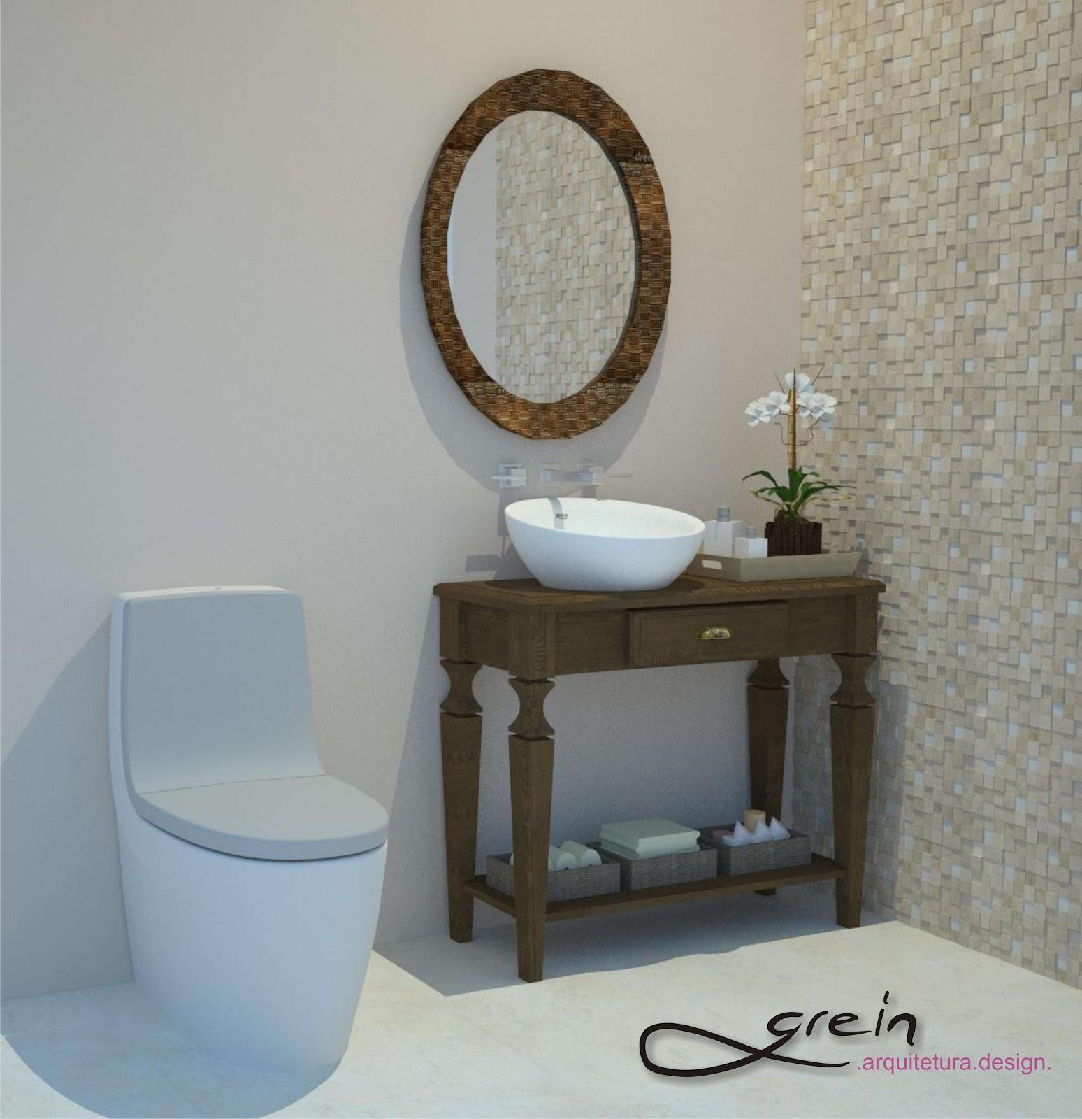 Grein Arquitetura: Lavabo I #5E482F 1548x1600 Armario Banheiro Antigo