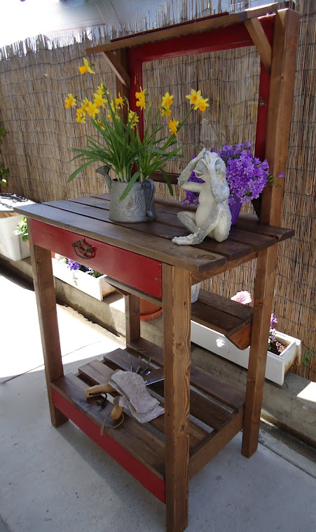 1920s Window and Vintage Shutter Table with Vintage Hardware - SOLD