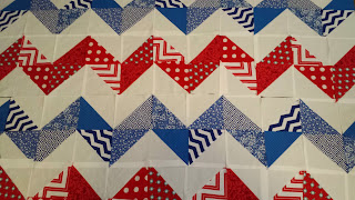 red, white, blue, patriotic, chevron, quilt, chevron quilt, patriotic chevron quilt, 4th of july, fourth of july, patriotic quilt, half square triangles, HST