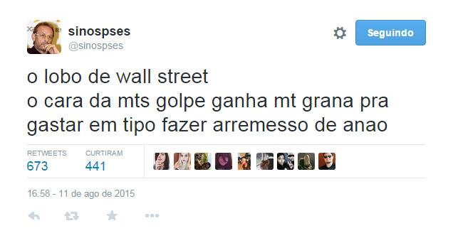 print do twitter @sinopses sobre o filme o lobo de wall street