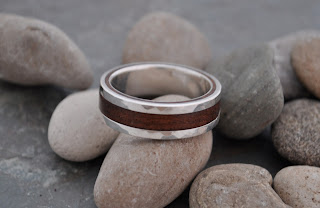 Hammered Lados Nacscolo Wood Ring by Naturaleza Organic Jewelry