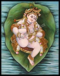 Vatapatrashayin: Vishnu on a banyan leaf; Tanjore painting