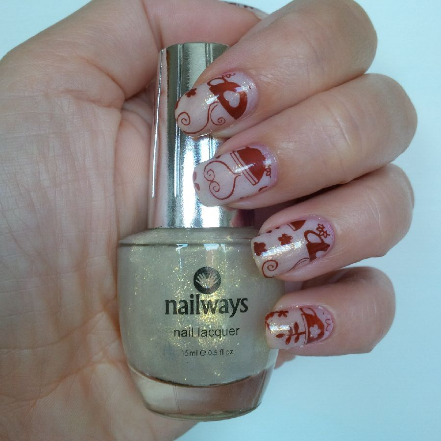 Nailways White Fog Stardust Gold Coffee Nail Art