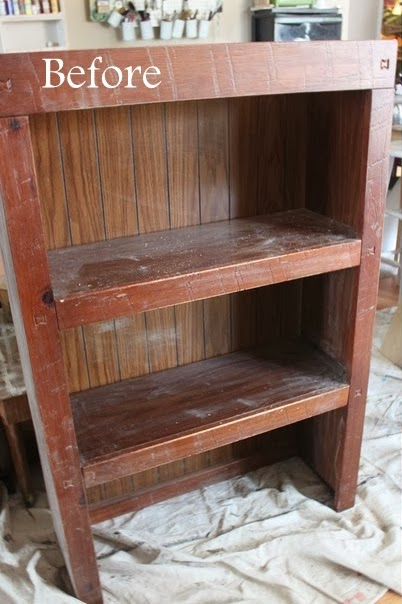 http://namelyoriginal.blogspot.com/2014/02/laminate-bookshelf-repurposed.html