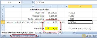 Excel: Habilitar cálculo iterativo vs Referencia Circular.