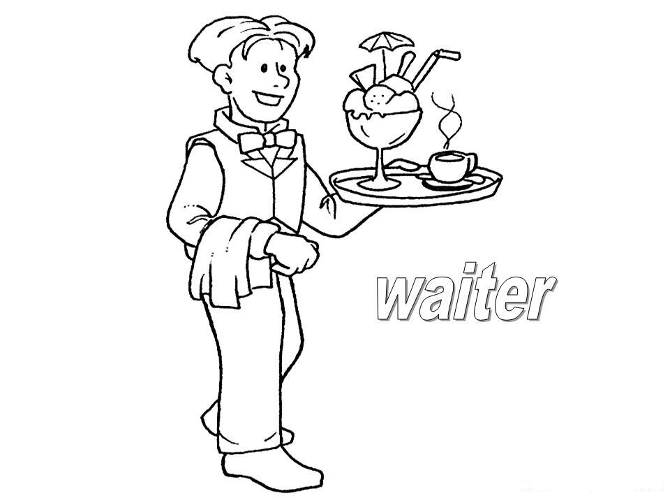 waitress coloring pages - photo#21