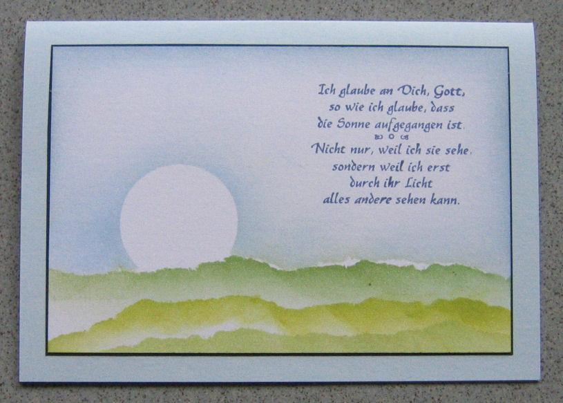 """kunst á la card: taufkarte """"ich bin das licht"""""""