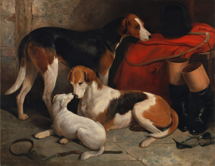 William Barraud - A Couple of Foxhounds with a Terrier, the property of Lord Henry Bentinck (c.1845)