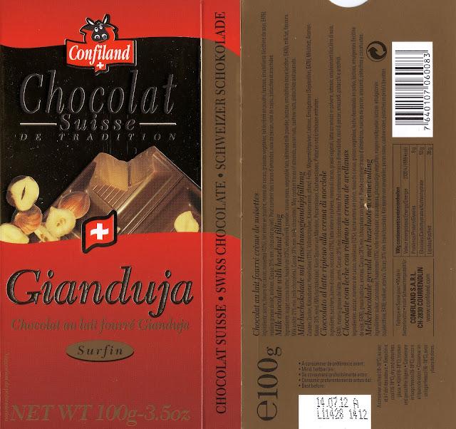 tablette de chocolat lait fourré confiland lait gianduja