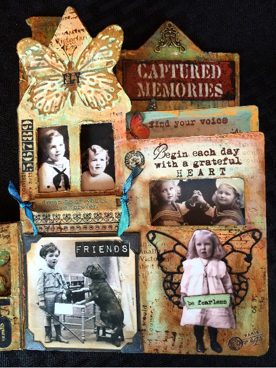 Altered mixed media children's book using DecoArt products,page 3 closeup.