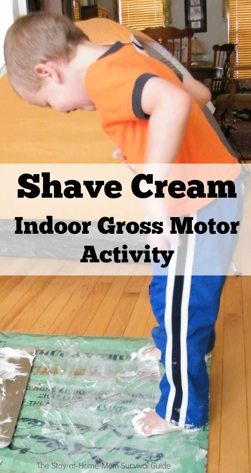 Shaving cream indoor sensory and gross motor activity for Indoor gross motor activities