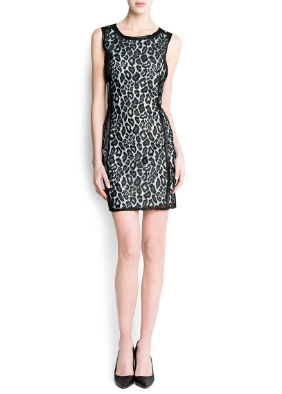 leopar desenli kısa elbise