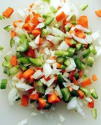 onions, carrots, celery, garlic, basil and olive oil