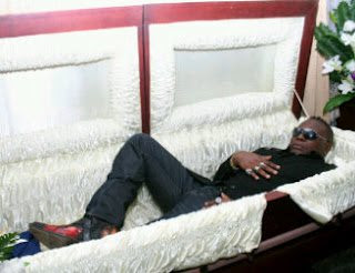 Charly Boy in coffin