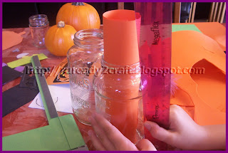 paper craft for a pumpkin jar