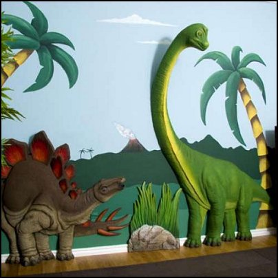 Decorating theme bedrooms maries manor dinosaurs for Dinosaur mural ideas