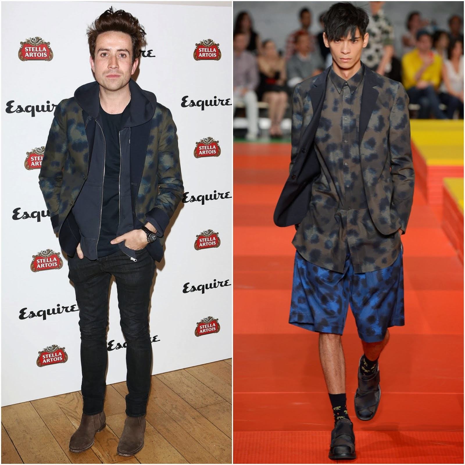 00O00 Menswear Blog: Nick Grimshaw's Kenzo camouflage blazer - Esquire Summer Party