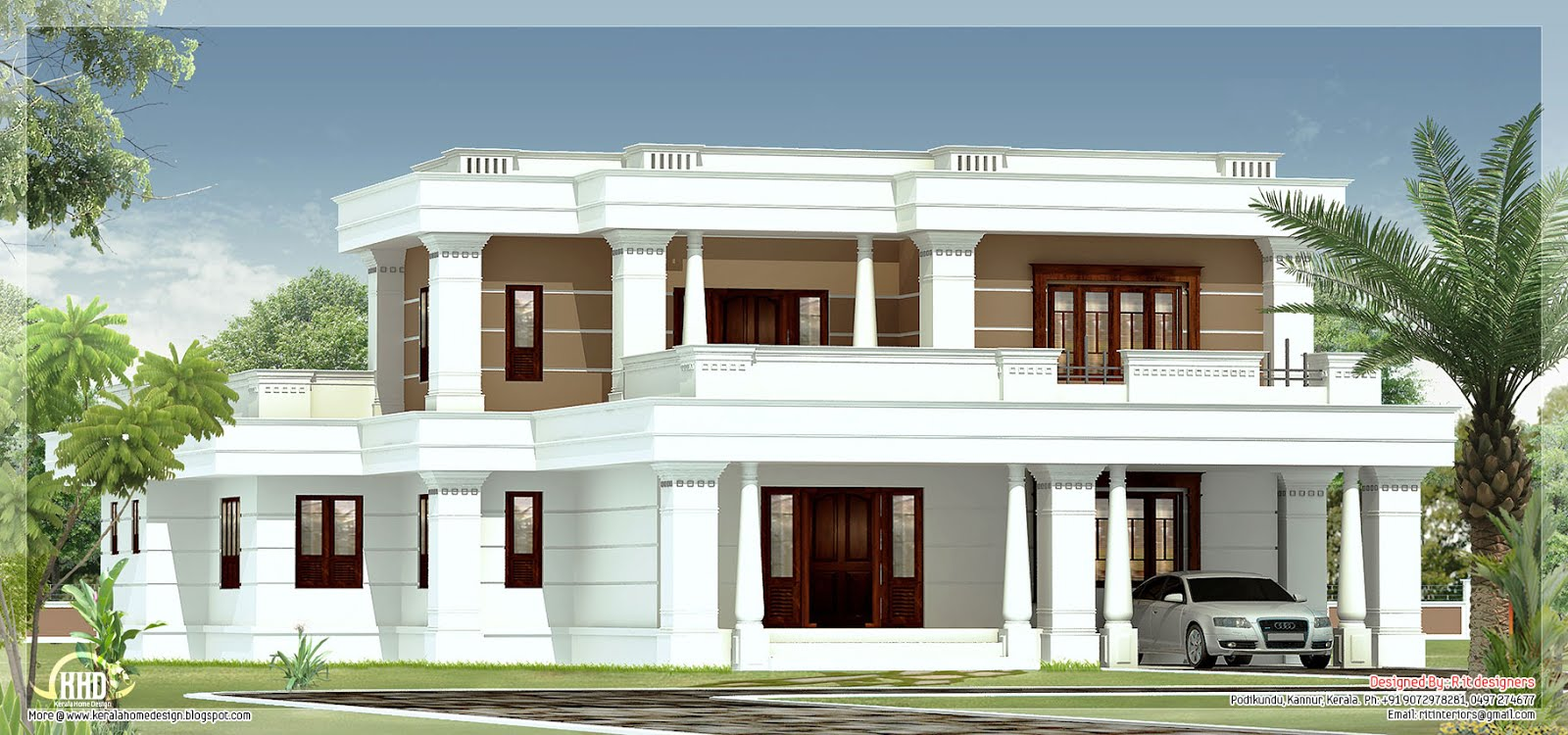 4 bedroom flat roof villa kerala home design and floor plans for Villas designs photos