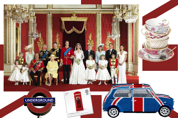 British collage, mini cooper, London underground, british post box stamp, english tea cups, Queen's Jubilee 2012