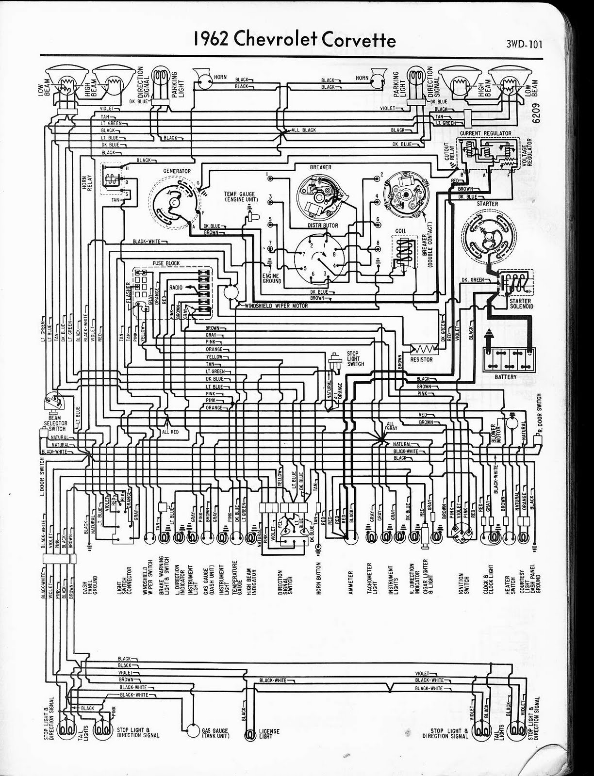 free auto wiring diagram: 1962 chevrolet corvette wiring ... 68 corvette dash wiring diagram free download
