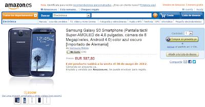 Samsung Galaxy S3 aparece en Amazon España