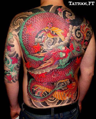 Dragão colorido nas Costas Tatoos
