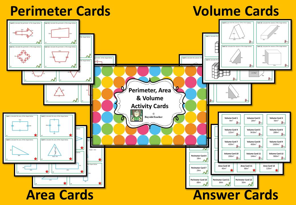 http://www.teacherspayteachers.com/Product/Perimeter-Area-Volume-Math-Center-Cards-1-311295