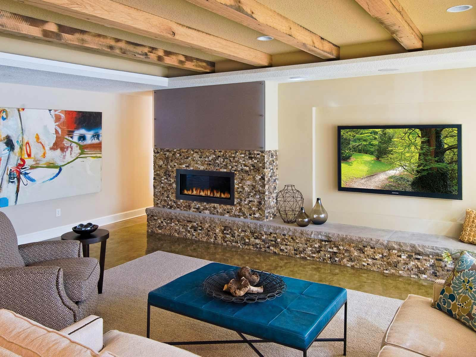 16 creative basement ceiling ideas for your basement for Images of finished basements