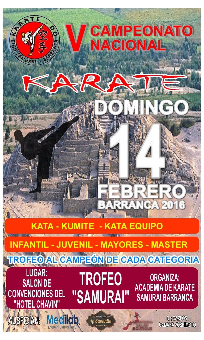 "V CAMPEONATO NACIONAL DE KARATE ""Trofeo Samurai"" Barranca-Perú"