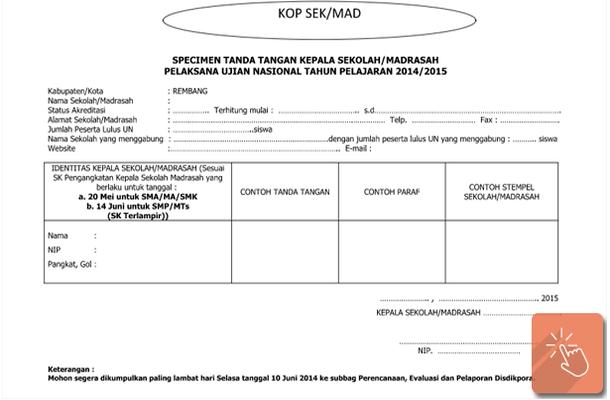 Download Contoh Format Specimen Tanda Tangan Kepala Sekolah/Madrasah